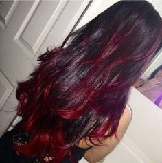 Dark Hair With Red Highlights hair dark hair ombre hairstyles ombre hair colored hair hair colors hair ideas hair trends 2 toned Hair Color And Cut, Ombre Hair Color, Purple Hair, Hair Colors, Red Ombre, Purple Streaks, Hair Color Ideas For Dark Hair, Black Cherry Hair Color, Ombre Style