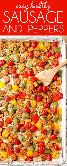 EASY healthy Sheet Pan Sausage and Peppers with sweet potatoes and tomatoes is bursting with Italian flavor and roasted to perfection with minimal prep ZERO hands on cooking and easy cleanup. Onion Recipes, Sausage Recipes, Healthy Chicken Recipes, Healthy Dinner Recipes, Rice Recipes, Easy Recipes, Weekly Recipes, Chilli Recipes, Popular Recipes