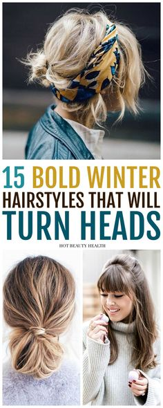 15 Easy Bold Hairstyles That Will Surely Make a Statement This Winter. Find a style for long hair, medium, short, fringe or for black women with curly styles to try in the new year. Click pin for tutorials! #hairtutorials #hairstyles