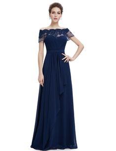 Nunca bastante Para Mujer Cuello Bote De Lacy Larga Noche De Fiesta Dama Vestidos 08490