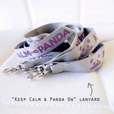 """Keep Calm and Panda On"" Lanyard (Grey) / Steppie Clothing"