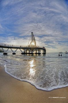 This is the NEW pier at Los Muertos Beach in  Puerto Vallarta. It lights up at night. Very romantic!! www.puertovallarta.net #vallarta #puertovallarta #mexico #jalisco