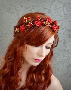 Red rose crown flower crown floral headband by gardensofwhimsy, $70.00