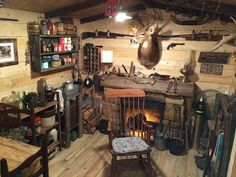 This guy turned his basement into a cabin man cave! See the entire transformation and make your own basement man cave. Sol Sombre, Gun Rooms, Trophy Rooms, Storage Room, Basement Storage, Small Storage, Storage Shelves, Home Design, Design Design