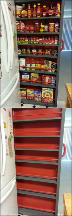 How To Build A Roll-Out Shelf  When building or remodeling a kitchen, it's wise to leave space between the wall and the refrigerator in case you ever upgrade to a larger fridge.  But the downside is that you create an unusable space that will collect clutter. Take advantage of the unused space by building your own roll-out pantry shelf.