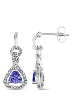 From the Vault 0.1 ct Diamond & 1 ct Tanzanite Earrings in 10k White Gold - Beyond the Rack
