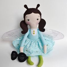 MyKnitAndStitch.com - Blue Bee Cloth Doll, Fabric Doll, Rag Doll, OOAK Doll, Handmade Doll, Bumble Bee, Miss Bee