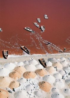 Earth's most otherworldly sites.Lake Retba, Senegal This 3m-deep lake looks cotton-candy pink, thanks to the Dunaliella salina algae that grows in the water. The pink is most visible during the dry season, which lasts from November to February.