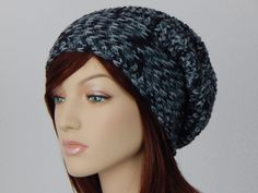 Black and Gray Slouch Hat, Grey Black Beanie, Womens Hat, Teen Slouchy Hat, Winter Hats, Autumn Hats, Fall Beanies, MarlowsGiftCottage by MarlowsGiftCottage on Etsy