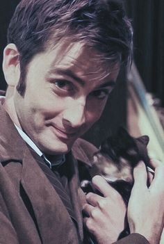 The most adorable creature in the universe, and a kitten. David Tennant Doctor Who, Bbc Doctor Who, 10th Doctor, Steven Spielberg, Perfect Boy, Dr Who, Superwholock, Beautiful Boys, Pretty People