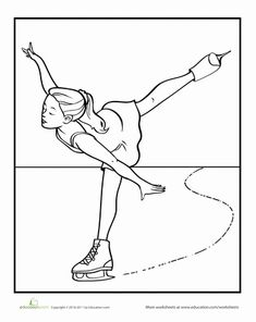 Preschool Sports Worksheets: Figure Skater Coloring Page Sports Coloring Pages, Free Coloring Pages, Coloring Sheets, Coloring Books, Olympic Crafts, Copic Drawings, Little Acorns, Skate Party, Christmas Coloring Pages