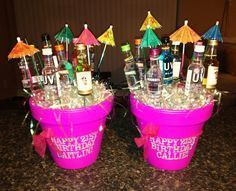 Birthday Bouquets: flower pot with mini liquor bottles, crazy straws, and cocktail umbrellas - remember for Fleur Alcohol Gift Baskets, Liquor Gift Baskets, Alcohol Gifts, Raffle Baskets, 21st Birthday Presents, 21st Gifts, Diy Birthday, 21st Birthday Basket, Birthday Bouquet