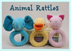 PDF sewing pattern will show you have to make these super soft, adorable animal rattles! You get all three patterns in one: a kitty, a duck, and an elephant! The ring shaped body of these rattles makes them easy for baby to grasp and hold and the rattle inside the head keeps baby's attention. I'm a mom of three little girls and I know from experience that babies love these rattles!  This listing is for a digital PDF sewing pattern. It will be emailed to you immediately after purchase.