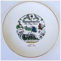 Vintage MASSACHUSETTS Collector Plate Souvenir of Boston 22K Sabin