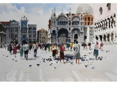 Exhibited at Royal Institute of Painters in Water Colours Exhibition, Feeding the Pigeons measures 59 x 72 cm and is available for Watercolor Landscape, Watercolor And Ink, Pigeon John, Carlton House, City Scene, Art Tips, Watercolours, Venice, Galleries