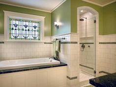 Popular Bathroom Window Treatments Over Tub Stained Glass Ideas Bathroom Window Treatments, Bathroom Windows, Bathroom Spa, Small Bathroom, Master Bathroom, Bathroom Ideas, Bath Ideas, Restroom Ideas, Bathroom Vanities