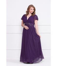 Plus-size-ladies-shoulder-gown-deep-v-neck