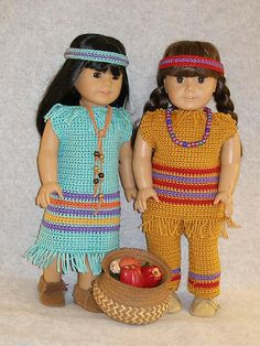 """$5.25~Ravelry: American Girl 18"""" dollTwo Little Indian Girls pattern by Ase Bence"""