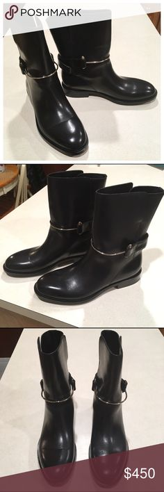 Balenciaga Wraparound Boots Authentic and never worn in original box, Balenciaga Wraparound Boots in black leather with silver hardware. Size 38C true to size. Some minor scratching (hard to photograph but pic of toe is an example) and creasing. Includes box (no tissue) and dustbag. Approx 1 inch heel, 8.75 in tall (from bottom of heel). 🚫TRADE Balenciaga Shoes Ankle Boots & Booties