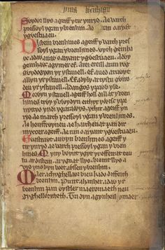 A page from 'The Book of Cyfnerth', Wales (?Neath), 1st quarter of the 14th century, Harley MS 4353, f. 1