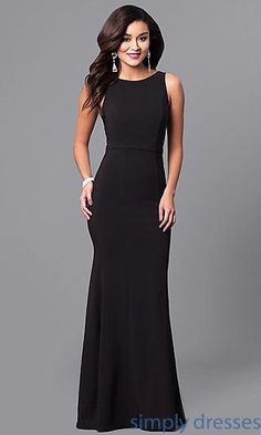 ea0a0e6251a Long Black High-Neck Prom Dress with Sequin V-Back. Black Formal GownSemi  ...