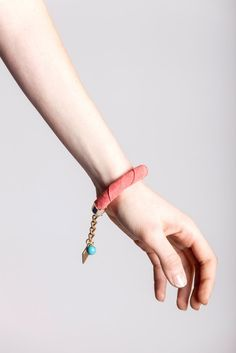 9 edition of the handcuff bracelet is made of salmon pink suede with galvanized metal components and turquoise. Galvanized Metal, Bracelet Designs, Handmade Bracelets, Bracelet Making, Salmon, Turquoise, Chain, Pattern, Pink