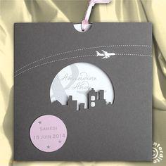 Faire-part de mariage pochette voyage en avion - MF13-031 - Faire Part Select° 49331   Faire-part.fr