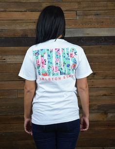 Brand new Tarleton State University t-shirts just in time for summer! Show your school spirit this summer in this floral Texans Comfort Colors t-shirt!