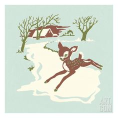 Fawn in Winter Scene Art Print by Pop Ink - CSA Images at Art.com