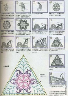 """flower round, square, triangle, hexagon crochet patterns..."""