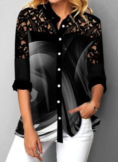 Material : Polyester , Spandex Washing Instructions : Hand Wash Package Contents : 1 X Blouse Style : Casual Clothing's Length : Regular Collar : Turndown Collar Pattern Type : Print Sleeve's Length : Long Sleeve Color Scheme : Black Trendy Tops For Women, Blouses For Women, Women's Blouses, Fashion Blouses, Women's Fashion, Fashion Online, Chiffon, Collar Blouse, Blouse Styles