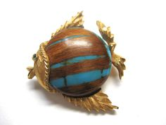 Love this little guy! > #Vintage Fish Brooch with Mid Century Wood Grain & Turquoise by ThriftPop, $13.50, on @Etsy