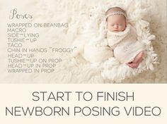 "Don't have the time to to get away for an in-person workshop? This is for YOU!! A Newborn Portrait Session with Keri Meyers is a 2 hour video documenting Keri's typical newborn session workflow in her studio. In this video, Keri demonstrates the following beanbag poses - wrapped, side-lying, tushie-up, the taco, chin-in-hands aka ""froggy"", and head up."