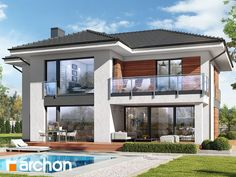 Projekt domu Willa Miranda 4 (G2) - ARCHON+ House Front Design, Modern House Design, Dream House Plans, Modern House Plans, Cute House, My House, Roof Styles, House Styles, Luxury Homes Dream Houses
