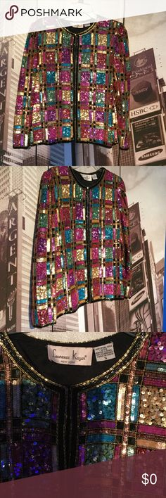 On the Runway Vintage Sequin Cover Jacket Up for sale is this amazing jacket .....long sleeves...one hook at neck....great with jeans ...shorts....skirt etc .... Jackets & Coats