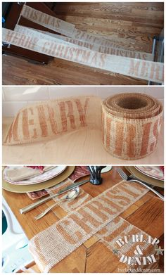 DIY Merry Christmas Burlap Ribbon via burlapanddenim.com!
