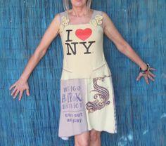 I heart NY T-shirt Dress, Upcycled, with Chicago and San Francisco t-shirts, size Small. $40.00, via Etsy.