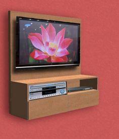 Módulo colgante con respaldo para sujetar TV con mueble para DVD