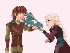 Hiccup and Elsa playing with a dragon.