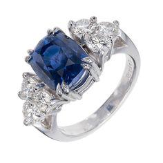Peter Suchy Natural Sapphire Diamond Platinum Engagement Ring