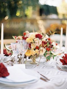 Fall Floral Wedding Centrepiece // Photography ~ Kristin La Voie Photography