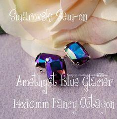 LAST ONE - Amethyst Blue Glacier Sew On - Swarovski 14 x 10mm Fancy 4570 in a SP Setting - Wire Jewelry Supply - Component