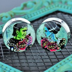 """Monster Bride Tattoo Flash"" Stainless Steel Plugs – Arctic Buffalo"