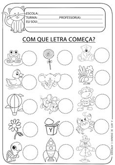 Atividade pronta - Letra inicial                                                                                           Mais Therapy Activities, Preschool Activities, Teaching Kids, Kids Learning, Portuguese Lessons, English Activities, Education English, Speech Therapy, Worksheets