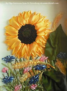 A Sunflower in ribbon embroidery....