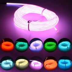 Neon LED Light Glow EL Wire String Strip Rope Tube Decor Car Party with Controller Fantastic Atmosphere Tube Led, Led Tubes, Neon Lighting, Strip Lighting, Lighting Design, Bar Deco, Neon Bedroom, Neon Lights Bedroom, Neon Party