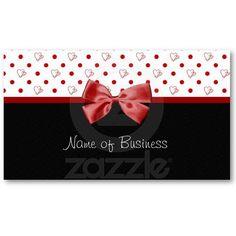 Girly Hearts and Polka Dots Red Ribbon Business Cards
