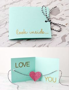 """DIY greeting card ~ """"Look inside..Love you"""" 