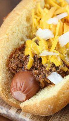 Cincinnati Cheese Coney Recipe on Yummly Hot Dog Recipes, Chili Recipes, Sauce Recipes, Pork Recipes, Cooking Recipes, Healthy Recipes, Easy Recipes, Healthy Food, Cincinnati Chili