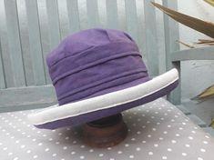 Purple linen large brimmed sunhat £24.00